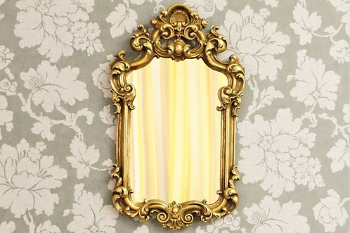 Eleganter Spiegel mit Muschelflamme im Barock-Design mit toller Ornamentik