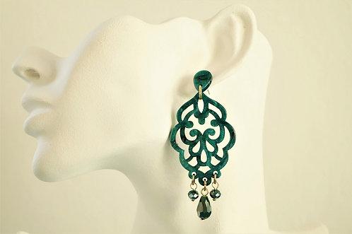 Acryl-Kunst vom Feinsten - türkise Ornament Ohrringe