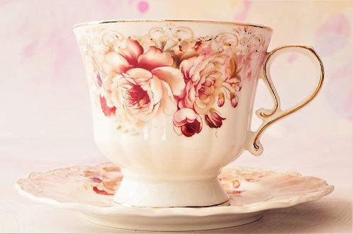 Romantisch! Nostalgische Kaffee-/Teetasse mit Untertasse aus Porzellan