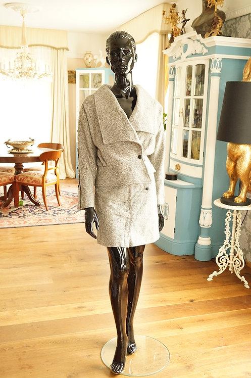 Original italienisches Fischgrätmuster Skirt-Suitmodell aus den 80ern– Gr. 38