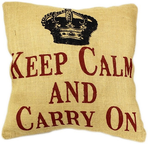 "Jute Polster / Kissenbezug 40x40cm ""Keep Calm"""