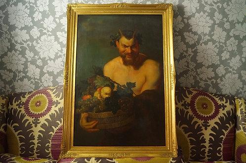 BIEDERMEIER & RIESIG! Kopie von Rubens Satyr wohl um 1840 / Gemälde / Bild