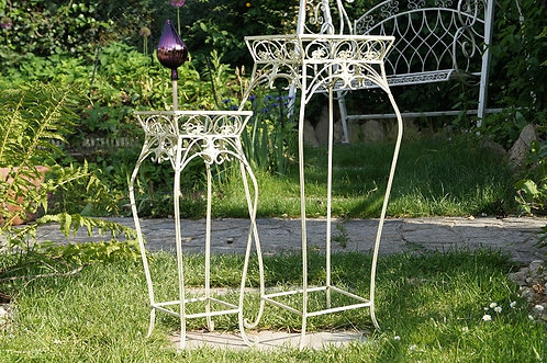 2 Größen! Blumentische / Säulen aus Eisen im angesagten Brocante-Stil
