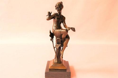 Wunderschöne, echte Bronze auf Marmor im Stile des Art Nouveau!