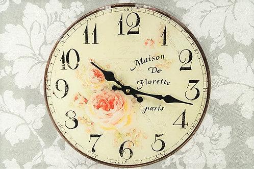 NOSTALGIE PUR | Romantische Uhr aus Glas mit Quarzwerk – DM 30 cm