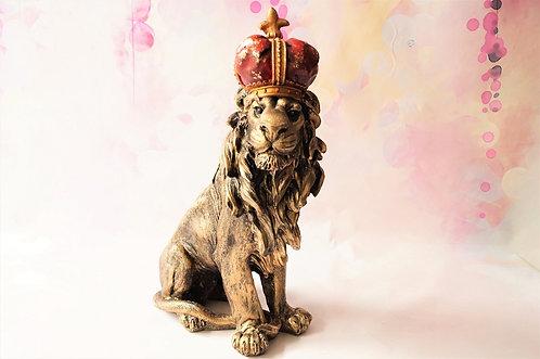 Figur - großer, majestätischer Löwe mit Krone – Höhe ca. 38 cm!