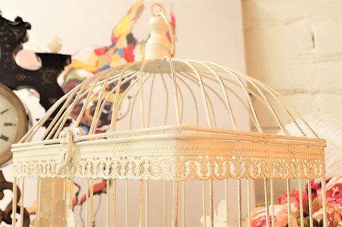 4-Eckig! Romantischer Vogelkäfig im tollen Design! Antikstil weiß