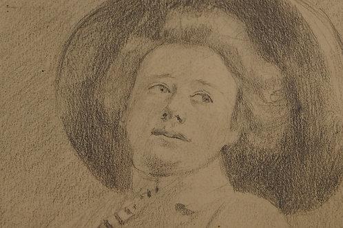 JUGENDSTIL PUR! Originale Bleistiftzeichnung um 1900.