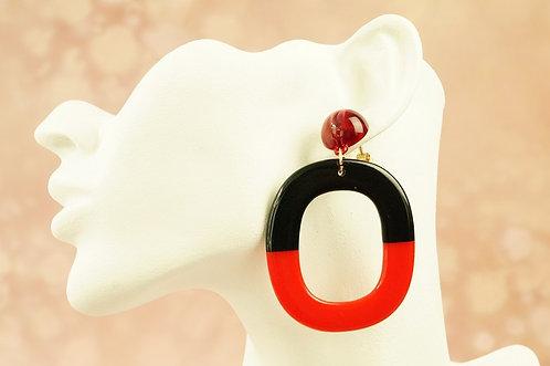 CLIPS!!! Statement-Ohrring aus angesagtem Acryl – ca. 7,5 cm lang