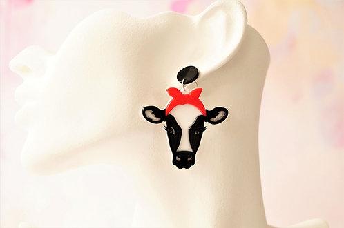 Acryl-Kunst vom Feinsten - Kuh Ohrringe