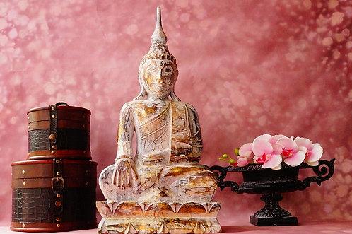 63 cm & HANDGESCHNITZT! Große Buddhafigur aus nachhaltigem Albesiaholz