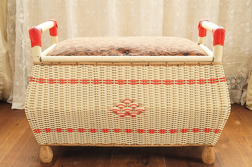 50er Jahre Kultstück – originale Deckeltruhe aus Rattan