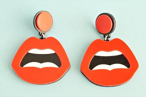 Acryl-Kunst - Lippen Ohrringe