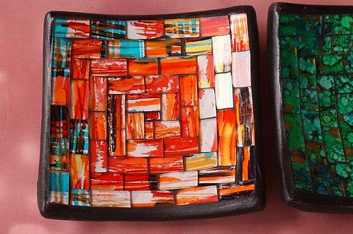 HANDGEMACHTE Mosaik-Schalen aus Bali – 11,5 x 11,5 cm