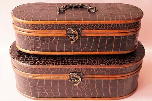 Elegantes, edles Kofferset aus Holz und geprägtem Kroko-Kunstleder Box