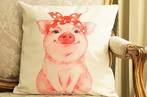 Polster / Kissen im verspielt kultigen Design – Schweinchen mit Haarband