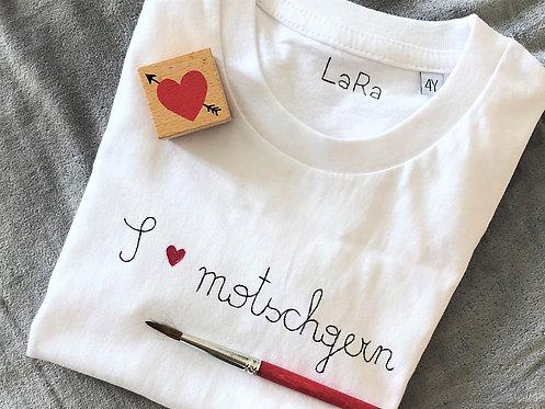 """Statement-Shirt """"I LOVE motschgern"""" in allen Größen"""