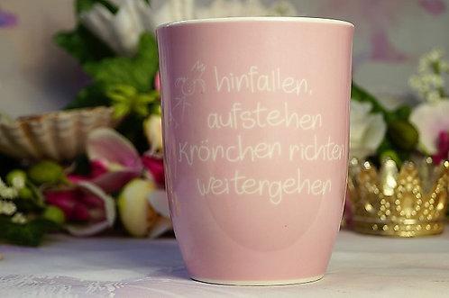 Kaffeebecher XL aus Porzellan 500 ml – HINFALLEN, AUFSTEHEN, KRÖNCHEN RICHTEN,