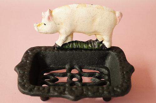 Originelle Seifenschale mit Schweinderl aus Gusseisen im Vintagelook