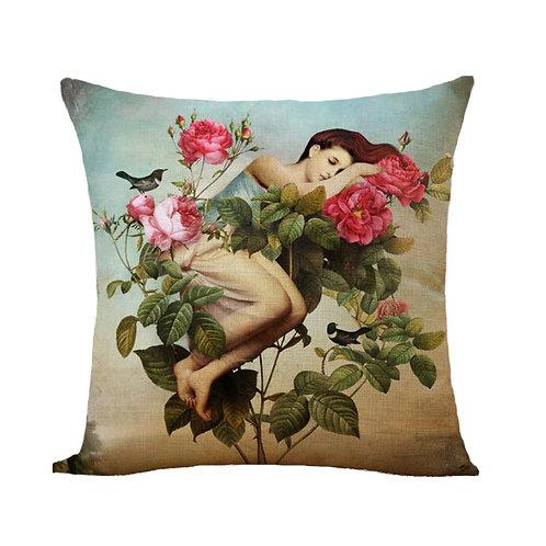 Polster / Kissen im extravaganten Design – schlafende Frau im Rosenstrauch –