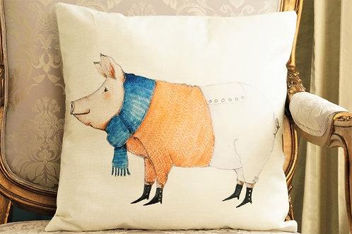 Polster / Kissen im verspielt kultigen Design – Schweinchen mit Schal