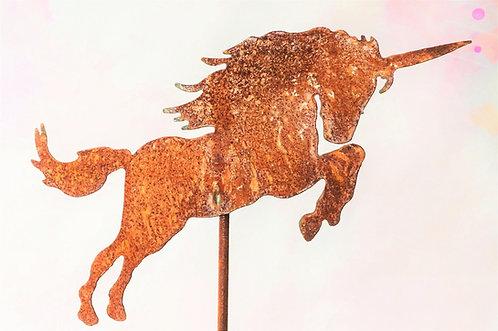 Gartenstecker aus Edelrost – kleines Einhorn – ca. 118 x 26 cm