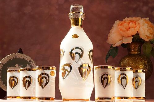 THAT´S VINTAGE HONEY! Originales Whiskey-/Likörset aus böhmischen Glas!