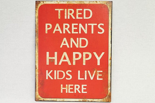 Geniales Metallschild im Vintage-Chic – 25 x 33 cm Happy Kids