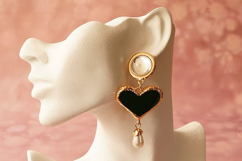Statement-Ohrring aus Metall mit Kunstperle – ca. 8,6 cm lang