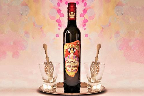 MATA HARI - ABSINTH-SET: 1 Flasche Absinth, 2 Mata Hari-Gläser, 2 Absinthelöffel