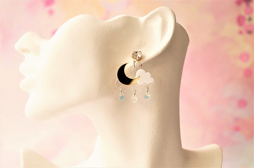 Acryl-Kunst vom Feinsten - Mond Ohrringe