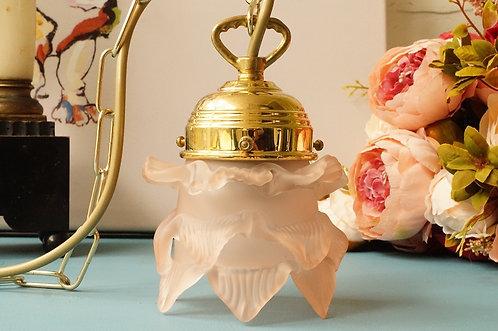 HOCHWERTIG & ELEGANT! Hängelampe aus Messing mit rosa Blüte!