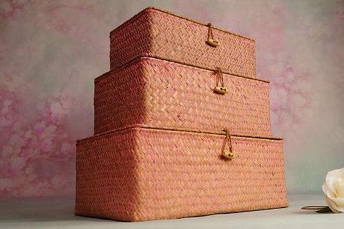 Schönes, liebliches 3er Korb-Set in rosa – 35 x 20 x 13, 31 x 18 x 11 & 28 x15cm