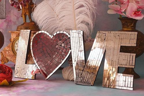 """HANDGEMACHT! Glasmosaik """"LOVE"""" – 42 x 19 cm"""
