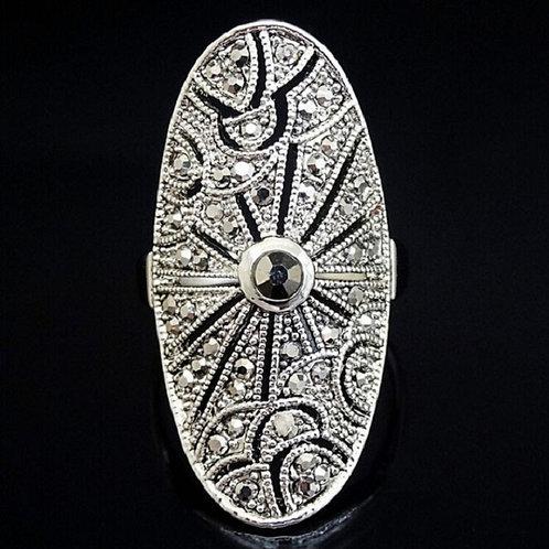 Edler, neuer Ring mit böhmischen Kristallen im genialen Art Déco-Stil - Gr. 8