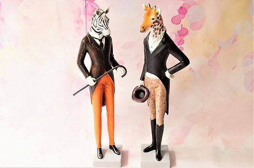 Figur Herr Zebra und Herr Giraffe im Frack – Höhe ca. 39 / 40 cm