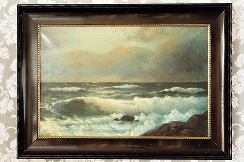 Uraltes, sehr schönes, signiertes Gemälde auf Leinwand im tollen Rahmen - Meer