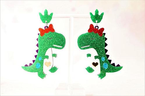 Acryl-Kunst vom Feinsten - Frau Dino Ohrringe