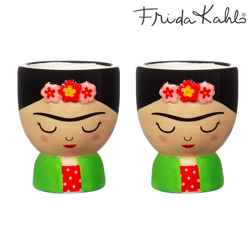 It´s FRIDA! Angesagter Frida Kahlo 2er Eierbecher-Set aus Steingut