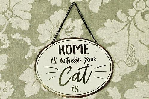 "Metallschild ""HOME is where your Cat is "" im Vintage-Look"
