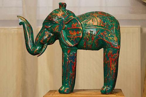 Großer, handgeschnitzter Elefant in Découpage-Optik ca. 35 cm