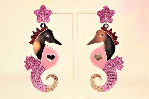 Acryl-Kunst vom Feinsten - Seepferd Ohrringe