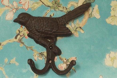 2er Haken aus Eisen! Entzückendes Vogel-Relief!
