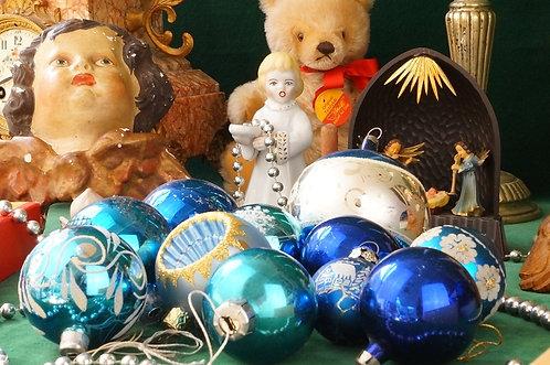 ALTER WEIHNACHTSSCHMUCK!!! 11 Vintage Kugeln blau