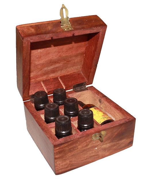 Kunstvolle Box für ätherische Öle - Aromatherapie vom Feinsten! fasst 6 + 1