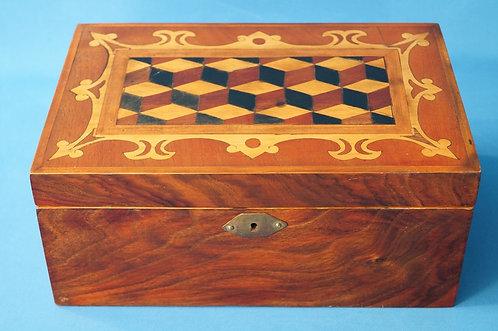 Exquisite Biedermeier Schatulle – wunderbare Holzarbeit um 1830-1860