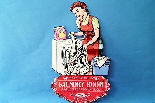 Riesiges Retro-Schild im Pop Art Style: Laundry Room