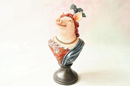 Herrschaftliche, handbemalte Schweinebüste aus Kunstharz