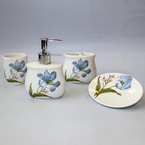 Schönes Badezimmer-Set mit blauen Lilien aus Keramik