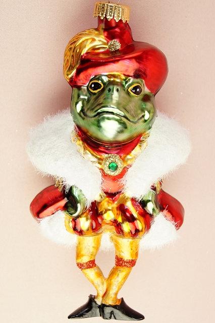 Froschkönig – mundgeblasener und handbemalter Christbaumschmuck